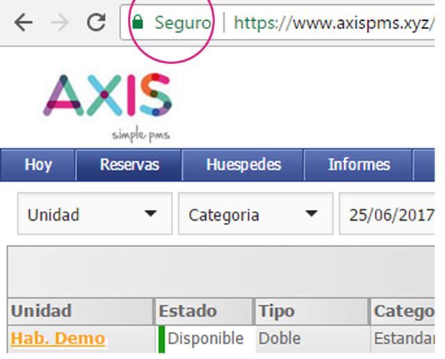 seguridad SSL en Axis Pms